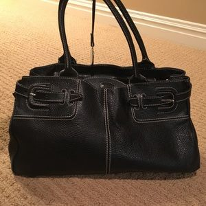 TOD'S black leather satchel handbag.